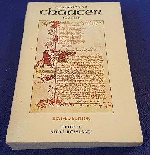 1979 Companion to CHAUCER Studies Paperback Book by BERYL ROWLAND