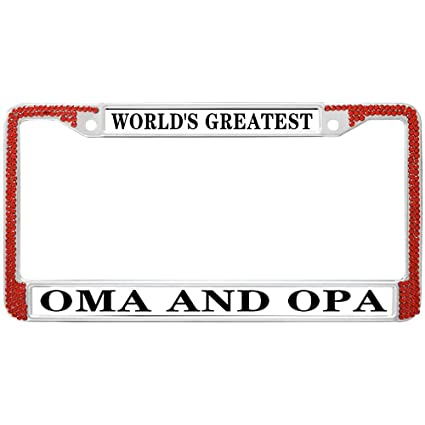 Amazon.com: License Plate Frame Crystal Red,World\'s Greatest OMA and ...