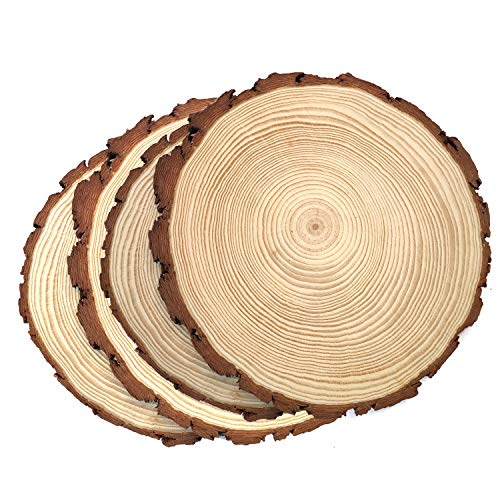 Natural Wood Slices,Unfinshed Round Pine Wood Slabs,9'' to 11'',4 Pack,Large Rustic Wood Pieces with Tree Bark for Wedding Centerpiece,DIY Projects,Table Chargers or Decoration! -