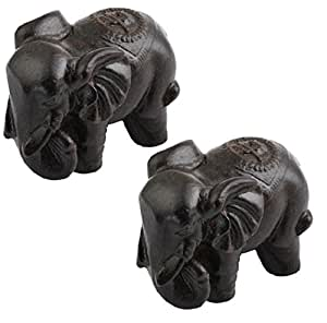 SUNYIK Elephant Statue Wood Carved Figurine Decor Home Guardian Pack of 2