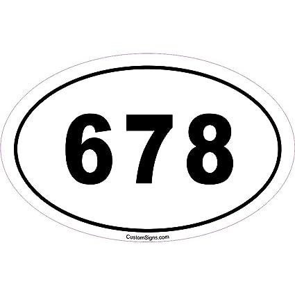 Custom Signs 678 Area Code Bumper Sticker for Car