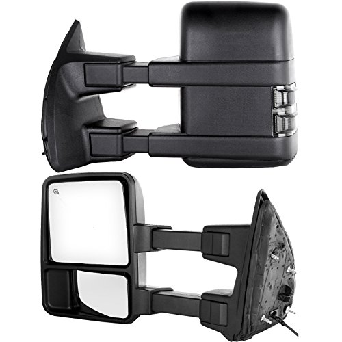 Towing Tow Mirrors Power Heated W/Smoke Signal Telescoping Folding Black Textured and Dual Glass for 03-07 Ford F250 F350 F450 F550 Super Duty Left&right Passenger&driver Side View Mirror Pair Set