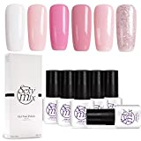 Sexy Mix Gel Nail Polish Set, Nude Pink Glitter Colors Series Soak Off UV LED Gel Polish Kit 6 Tiny Bottles Nice Box 0.24 OZ