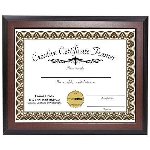 CreativePF [8.5x11mh] Mahogany Finish Diploma Frame Displays 8.5 by 11-inch Certificate, Graduation, University, Diploma Frames with Stand & Installed Wall Hanger by Creative Picture Frames