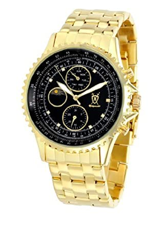 Konigswerk Mens Gold Watch IP Plated Stainless Steel Bracelet Black Dial Day Date Sun Moon Reloj