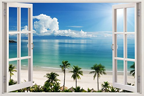 Removable Wall Decals   Huge Vinyl Mural   3D Window View Stickers   Large  Nature Poster 33.5