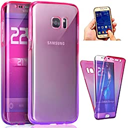 Galaxy J7 2017 Case,ikasus [Full-Body 360 Coverage Protective] Gradient Color Ultra-Slim Scratch-Resistant Front + Back Full Coverage Soft Clear TPU Silicone Rubber Case for Galaxy J7 2017,Pink Purple