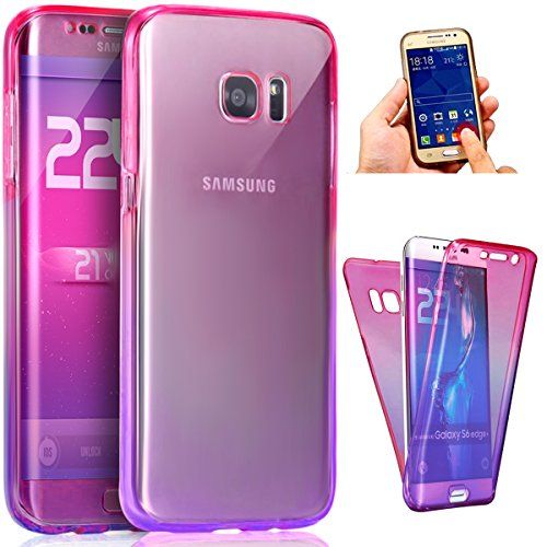 Price comparison product image Galaxy S8 Plus Case,ikasus [Full-Body 360 Coverage Protective] Gradient Color Ultra-Slim Scratch-Resistant Front + Back Full Coverage Soft Clear TPU Silicone Rubber Case for Galaxy S8 Plus,Pink Purple