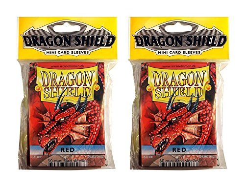 Dragon Shield Bundle: 2 Packs of 50 Count Japanese Size Mini Card Sleeves - Red Color