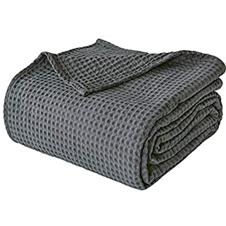 "PHF 100% Cotton Waffle Weave Thermal Blanket for Home Decorations - Soft Comfortable Breathable and Moisture Absorption for All Season - Perfect for Couch Bed Sofa King Size 108"" x 90"" Charcoal"