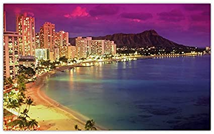 Waikiki Beach Honolulu Hawaii Usa Waikiki Beach Ocean Skyscraper Night Furniture Decorations Magnet Fridge Magnets