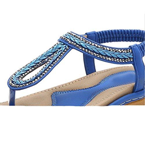 Strass Marin Été élastique Tongs Femmes Plage Sandales Plat Bleu Brillant Bohème JRenok Confort avec Plage 6TxUwHwq