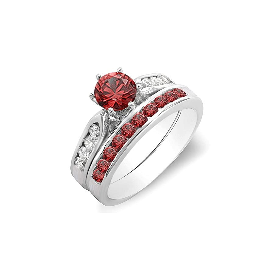 Dazzlingrock Collection 14K Gold Round Red Ruby & White Diamond Ladies Bridal Engagement Ring Set with Matching Band