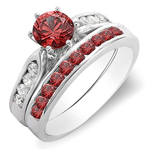 14K Gold Round Red Ruby & White Diamond Ladies Bridal Engagement Ring Set With Matching Band