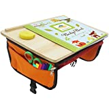 Sturdy Wood Car Seat Travel Tray – Kids Travel Tray on The Go! Foldable Travel Tray, Lap Desk w/Pockets, Travel Activity Tray & Play Tray - Ideal for Toddler Travel Activities for Long Car Trips.