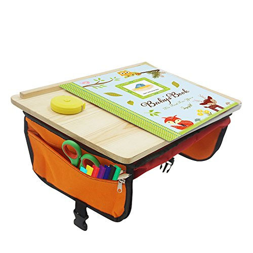 Sturdy Wood Travel Tray - Organizer Car Seat Travel Tray for Kids - Foldable Travel Desk with Pockets - Tablet Holder, Crayons, Markers and Pencils Pocket - Ideal for Long Car Trips (Booster Wood Booster Seat)
