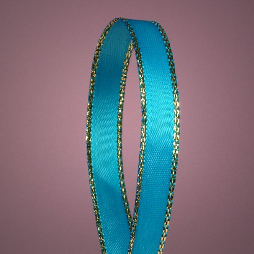 Turquoise Satin Ribbon with Gold Edges, 3/8