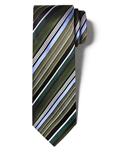 Origin Ties Men's Classic Muticolor Barcode Striped Silk Skinny Tie 3'' Necktie ()
