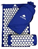 Acupressure Mat & Pillow Set by Acupoint Back & Neck Muscle Acupuncture Mat - Reflexology Massage Mat For Sciatic Coccyx Headache & Insomnia Relief – Bed Of Nails With Travel Bag (Blue)