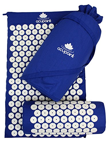 Acupoint Acupressure Mat & Pillow Set Back & Neck Muscle Acupuncture Mat - Reflexology Massage Mat for Sciatic Coccyx Headache & Insomnia Relief – Bed of Nails with Travel Bag (Blue)