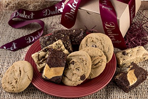 Dulcet Festive Gourmet Bakery Gift Box Includes: Walnut Brownie, Chocolate Cheese Brownie, Blondie Chip, Chocolate Chip Cookies, Peanut Butter Cookies, Great Gift Basket!
