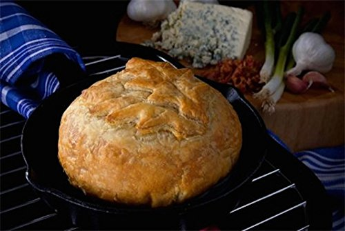 Elegant Brie Creamy Baked Brie en Croûte Gourmet Puff Pastry Easy Frozen Bake at Home Cheese Appetizer (Classic Leaf Design/Blue Cheese Bacon Garlic Green Onion, 27oz)