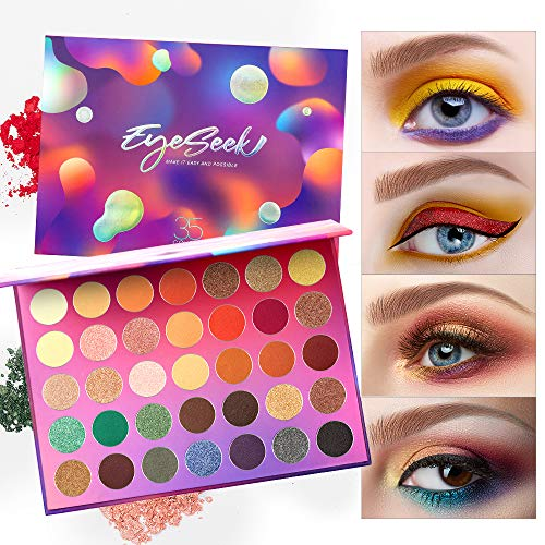Eyeseek Colorful Eyeshadow Palette 35 Colors High Pigmented Makeup Palette Metallic And Shimmer Eyeshadow Pallet Easy To…