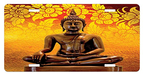 Asian License Plate by Lunarable, Antique Style Sculpture on Floor Floral Background Asian Orient Ancient Spiritual, High Gloss Aluminum Novelty Plate, 5.88 L X 11.88 W Inches, Orange Bronze - Antiques Sculpture