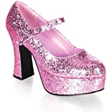Funtasma by Pleaser Women's Platform Mary Jane, Pink Glitter