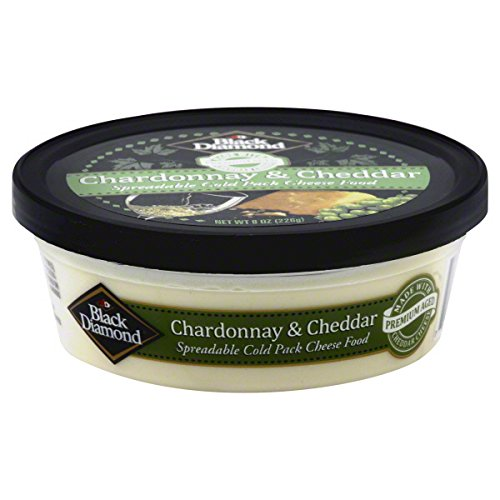 BLACK DIAMOND Cheese Spread, Sharp Cheddar and Chardonnay, 8 Ounce (Pack of 12)
