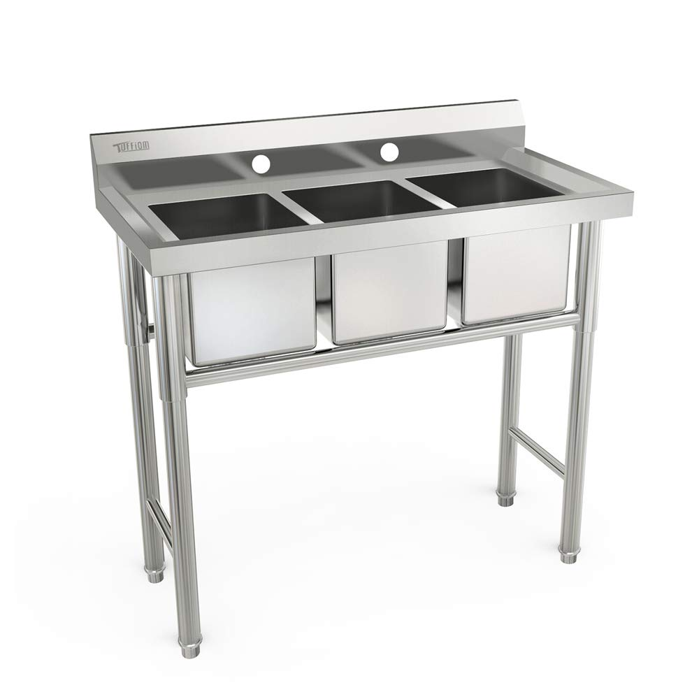 Bonnlo 3-Compartment Stainless Steel Utility Sink Commercial Grade Laundry Tub Culinary Sink for Outdoor, Indoor, Garage, Kitchen, Laundry/Utility Room