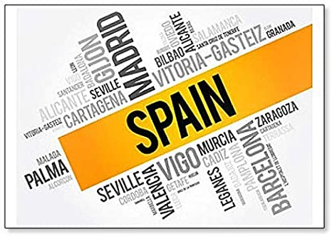Imán para nevera, diseño de la lista de ciudades en España: Amazon.es: Hogar