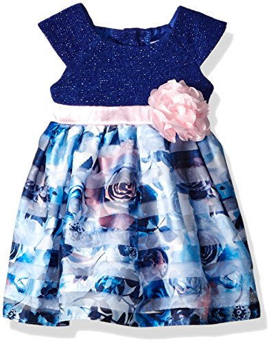 Sweet Heart Rose Little Girls Sparkle Knit To Burn-out Floral Dress, Blue/Multi, 3-6 Months