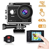 Action Camera 4K 16MP Waterproof Underwater Camera ACTMAN Touch Screen with WiFi, Waterproof Camcorder 170°Wide-Angle Remote Sports Camera, 2 Pcs Rechargeable Batteries and Mounting Accessories Kits compatible withgo pro camera