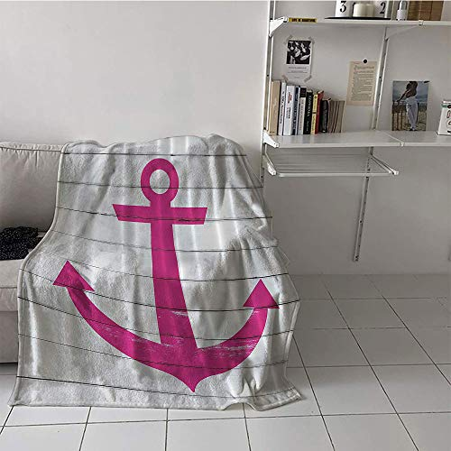 (Children's blanket Lightweight All-Season Blanket(60 By 62 Inch,Striped Nautical Marine Ship Coastal,Anchor Antiqued Rustic Striped Wooden Planks Sea Lover Ocean Theme Water Therapy Style,Pink,White) )