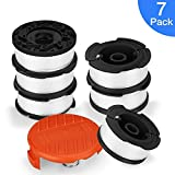 SUERW Line String Trimmer Replacement Spool, [7-Pack] 30ft 0.065'' Replacement Autofeed Spool BLACK+DECKER String Trimmer [6 Replacement Line Spool, 1 Trimmer Cap]