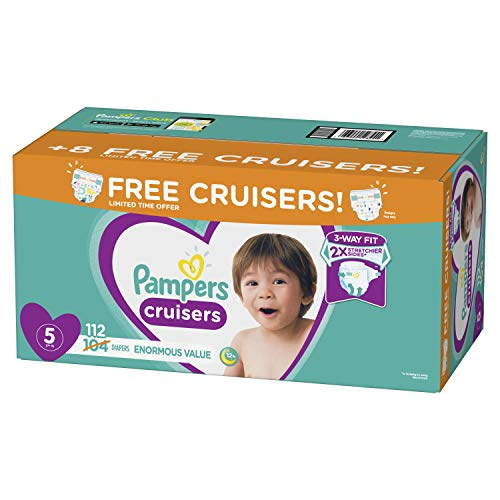 Diapers Size 5, 112 Count – Pampers Cruisers Disposable Baby Diapers, Enormous Pack, Plus Bonus Diapers
