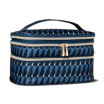 e5f089aa83ab Amazon.com  Sonia Kashuk153  Cosmetic Bag Triple Train Case Modern Geo  Blue  Beauty