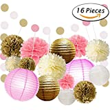 KEZAY Pink and Gold Party Supplies with Paper Lanterns and Tissue Pom Poms Flowers Kit Hanging Swirl for 1st Baby Girl Birthday Decorations 16 Pcs