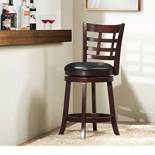 ModHaus Living Modern Cherry Kitchen Stool Counter Height with Lattice Back, Black Faux Leather Seat and Swivel - Includes Pen (Lattice Back) ()