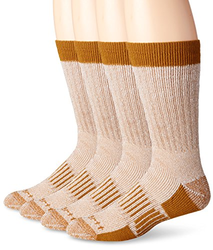 Carhartt Men's 4 Pack All Season Wool Work Socks, Brown, Shoe Size: 6-12