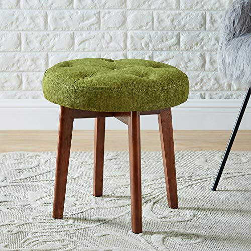 WEMART Linen Tufted Round Ottoman with Solid Wood Leg, Upholstered Padded Stool - ()