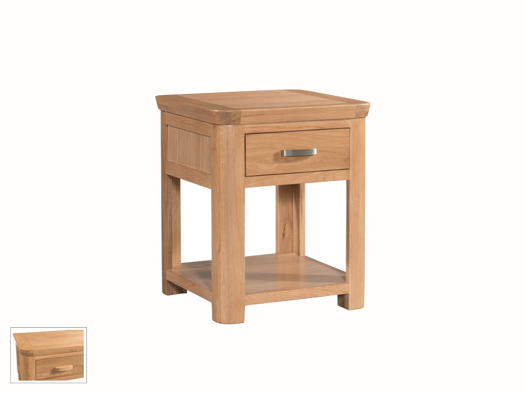 Metro Oak Telephone Table with 1 Drawer and Shelf Light Oak End Side Table