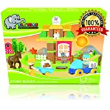Ele Toys Duplo Compatible Kids Interlocking Building Block Set from Fun & Educational - Each Set Includes a Unique Story - The Harvest Party - 43 Piece Set