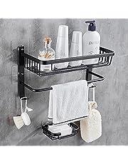 GRICOL Duschhylla ingen borrning utrymme aluminium väggmonterad rektangel förvaring självhäftande duschkorg med tvål svamphållare för badrum kök (svart)