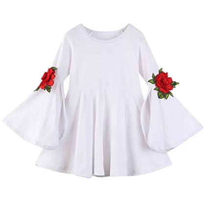 a2a13f024b Fineser Baby Clothes Baby Little Girls Flare Embroidery Floral Sleeve Solid  Princess Party Flare Dress Short