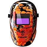 自動遮光液晶溶接面 自動感光式溶接マスク 自動フィルター  ワイドビュータイプ 遮光速度.00003秒 ソーラー充電式溶接マスク/ 溶接ヘルメット 遮光度#9~#13可変 赤い