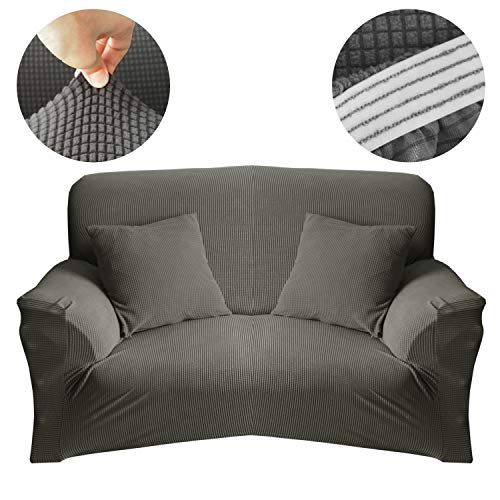 Koyda-lion Love-seat Sofa Covers Stretch Armchair Sofa Slipcover 1-Piece Soft Sofa and Furniture Protect Cover with Elastic Bottom for Kid to Protect Against Stains, Spills and Pet Hair (Gray)