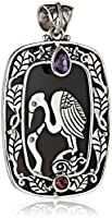 Sterling Silver Hand made Heron and Black Shell with Stones Pendant Necklace