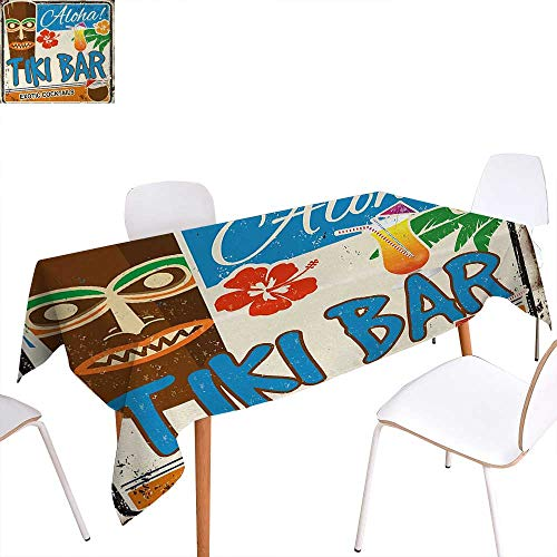 (Warm Family Tiki Bar Patterned Tablecloth Rusty Vintage Sign Aloha Exotic Cocktails and Coconut Drink Antique Nostalgic Dust-Proof Oblong Tablecloth 60